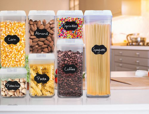 Eternal Kitchen Ideas Airtight Food Storage Container Set + Measuring Cups, Marker & Labels 28 Pieces Set, White